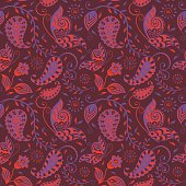 Seamless_Paisley_Floral_Vine_Butterfly_Repeat_Pattern_Dark_Tawny_Red_Purple