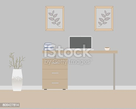 Office in loft style on a gray background. Vector illustration. Table with drawers,decorative branches in a beautiful vase floor, cute paintings. Cup with coffee, laptop, books.