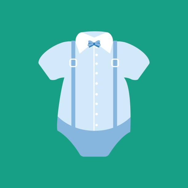 Шаблон Baby boy bodysuit with collar and the bow tie. Vector illustration baby clothing stock illustrations