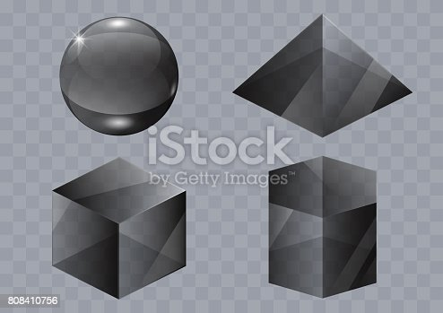 Set of black glass forms of a pyramid, a sphere and a cube. Vector graphics with transparency effect