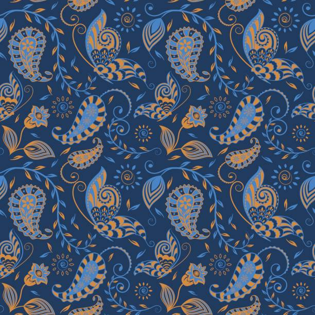 bildbanksillustrationer, clip art samt tecknat material och ikoner med seamless_paisley_floral_vine_butterfly_repeat_pattern_gold_blue_on_navy_background - hui style