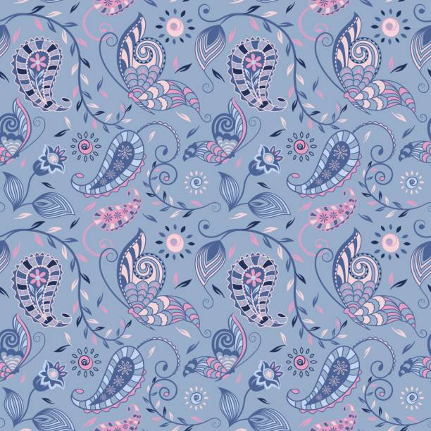 bildbanksillustrationer, clip art samt tecknat material och ikoner med seamless_paisley_floral_vine_butterfly_repeat_pattern_navy_pink_on_blue_background - hui style