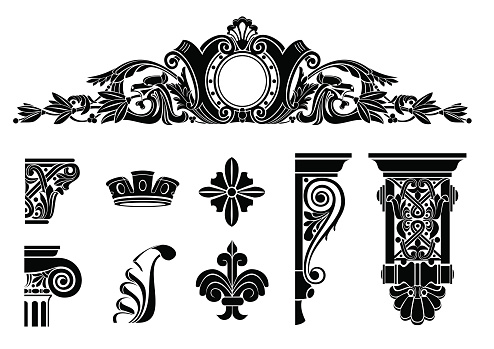 Set of classic graphic templates for printing or icons,. Screen Silhouettes