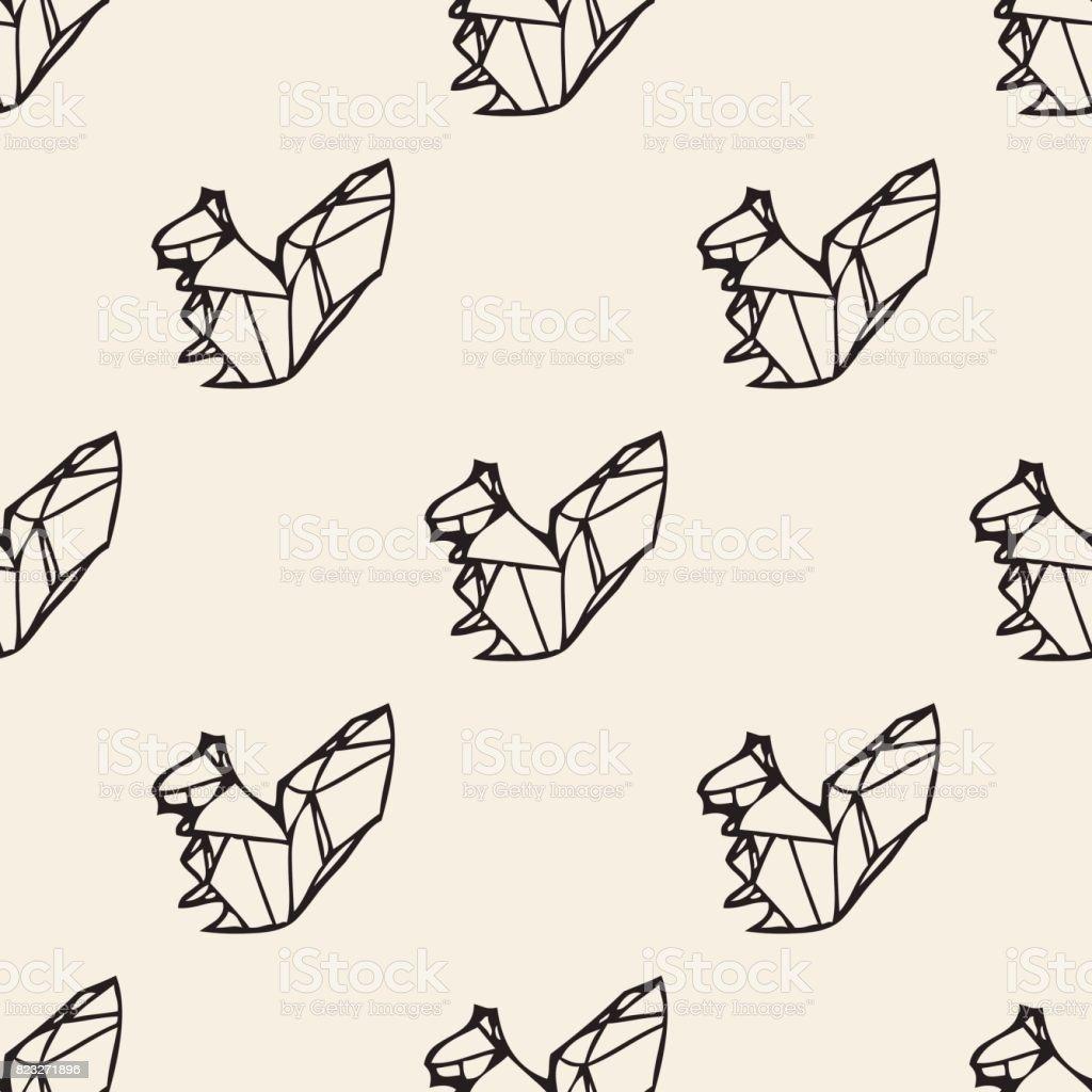 シームレスなモノクロの折り紙リス パターン背景 アナウサギのベクター