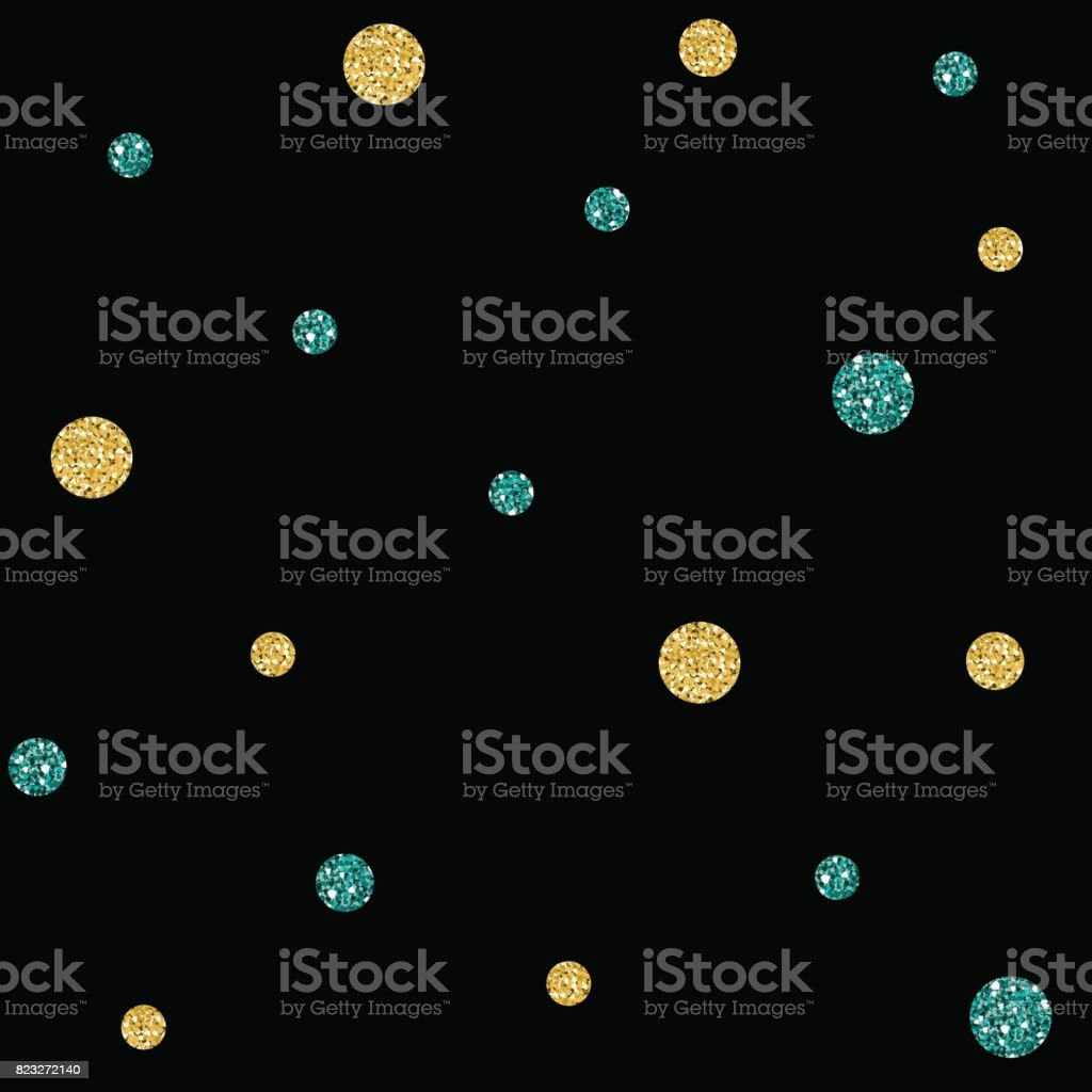Seamless Gold And Green Dot Glitter Pattern On Black Background