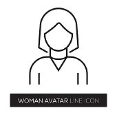 WOMAN AVATAR LINE ICON