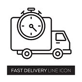 FAST DELIVERY LINE ICON
