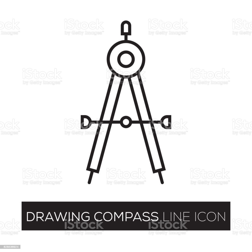 DRAWING COMPASS LINE ICON vector art illustration