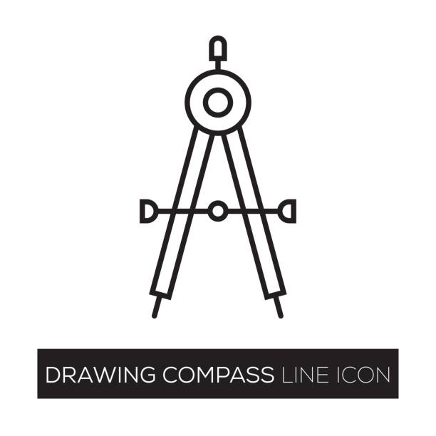 drawing compass line icon - architect stock illustrations, clip art, cartoons, & icons