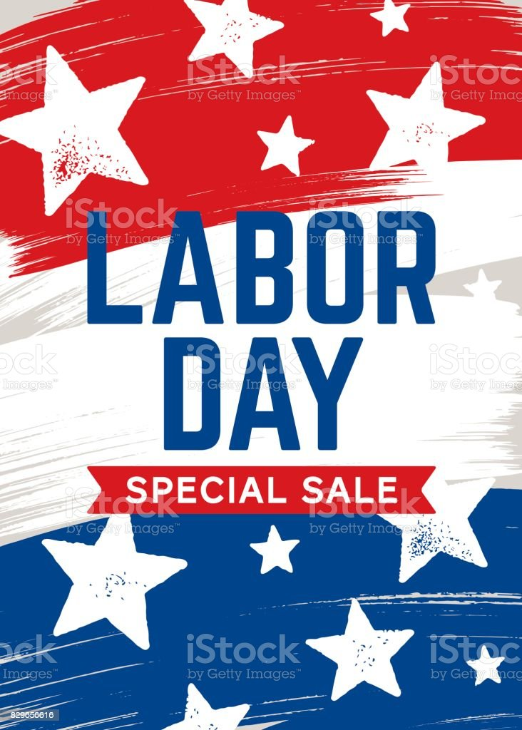LABOR DAY SALE CARD vector art illustration