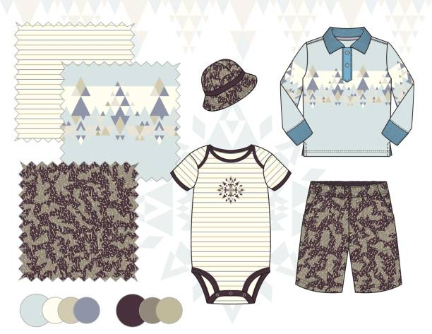 baby_toddler_boy_jersey_polo_outfit_illustration_geometric_camo_pattern_blue_brown - bodysuit stock-grafiken, -clipart, -cartoons und -symbole