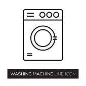 istock WASHING MACHINE LINE ICON 835466076