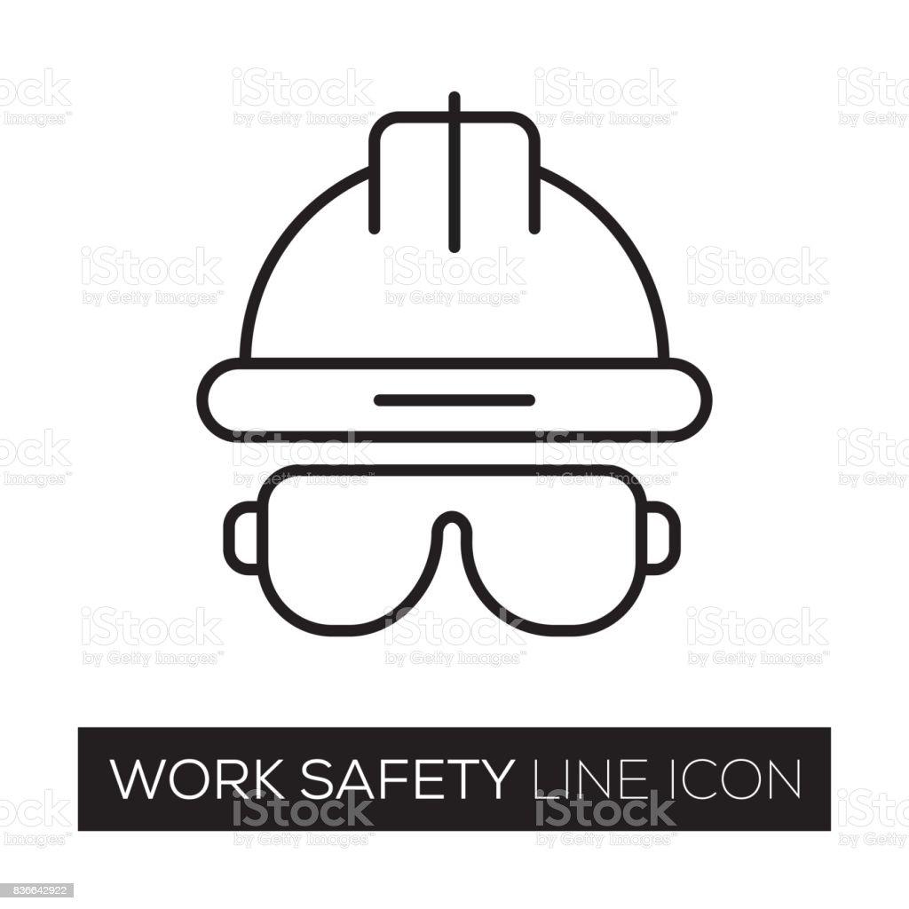 WORK SAFETY LINE ICON vector art illustration