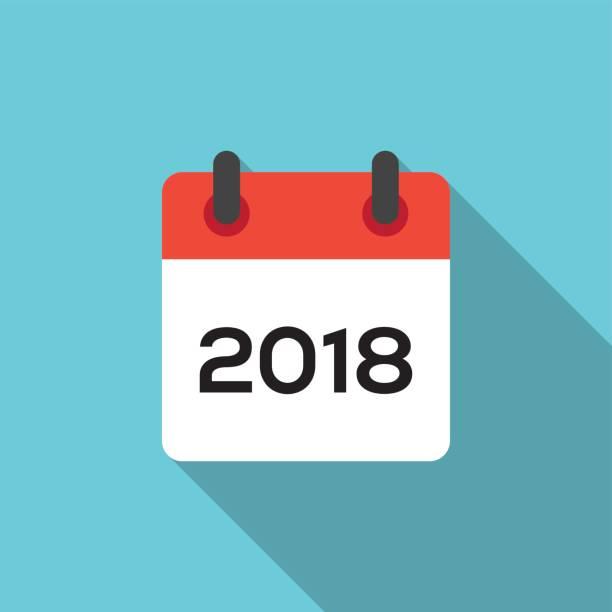 FLAT 2018 CALENDAR FLAT 2018 CALENDAR december illustrations stock illustrations