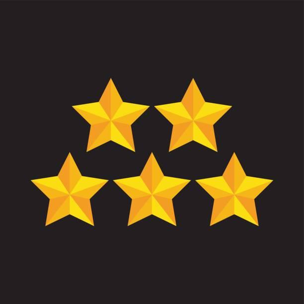 illustrations, cliparts, dessins animés et icônes de cinq étoiles d'or - forme étoilée