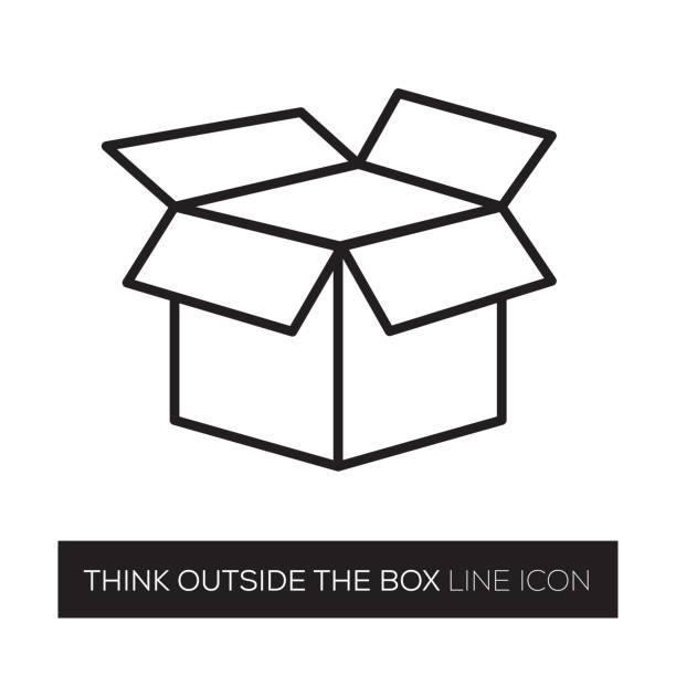THINK OUTSIDE THE BOX vector art illustration