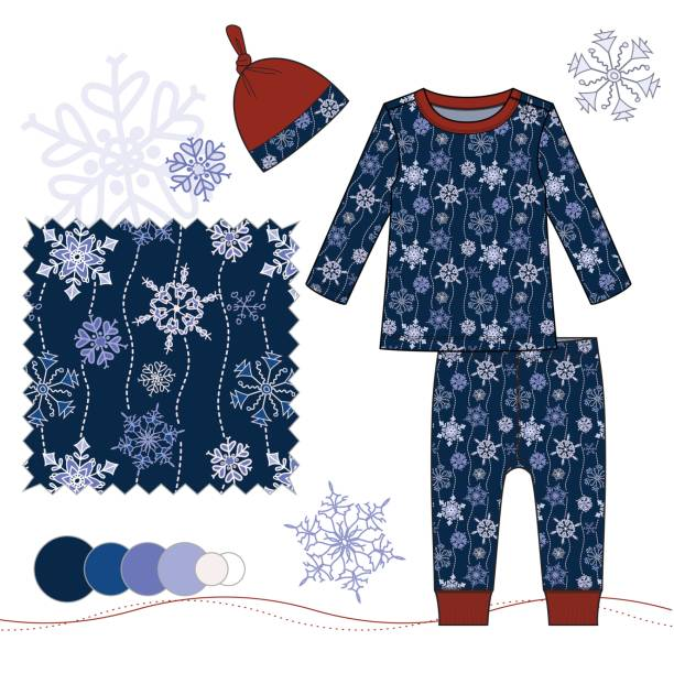 bildbanksillustrationer, clip art samt tecknat material och ikoner med baby_toddler_boy_holiday_pajamas_set_with_snowflakes_illustration_navy_blue - hui style