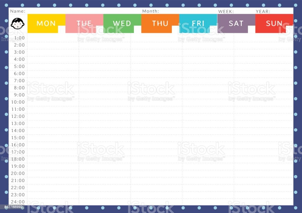 BOY WEEKLY TIME TABLE vector art illustration