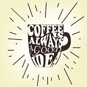 Coffee is always a good idea. Life begins after coffee. Every day is a coffee day. Lettering on cup shape set. Modern calligraphy style quote.