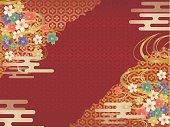 赤と金の和柄の背景
