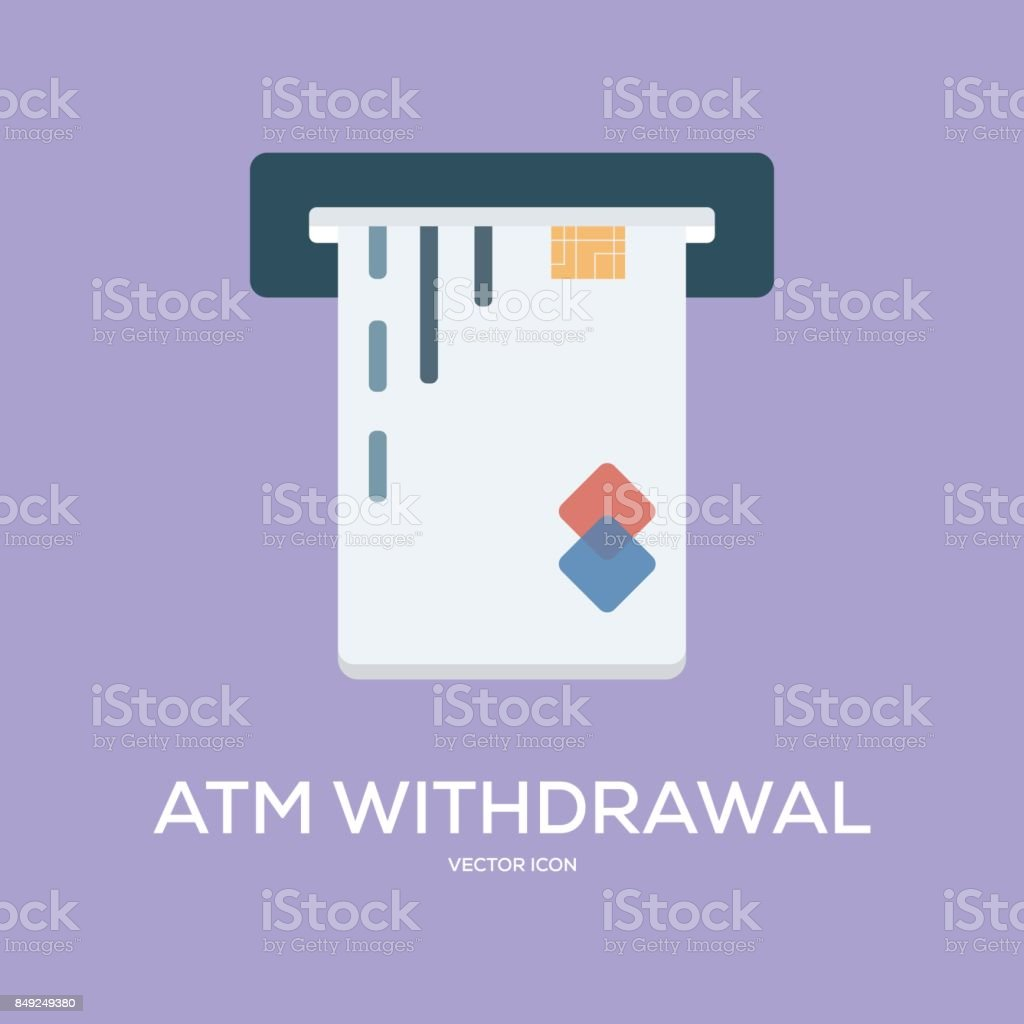 ATM WITHDRAWAL VECTOR ICON vector art illustration