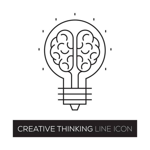 kreatives denken konzept liniensymbol - kopfleuchten stock-grafiken, -clipart, -cartoons und -symbole