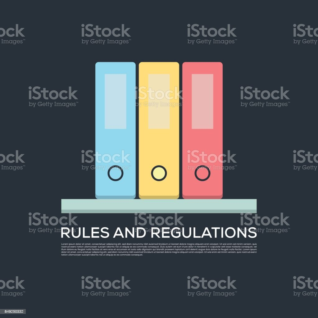 RULES AND REGULATIONS CONCEPT VECTOR ICON vector art illustration