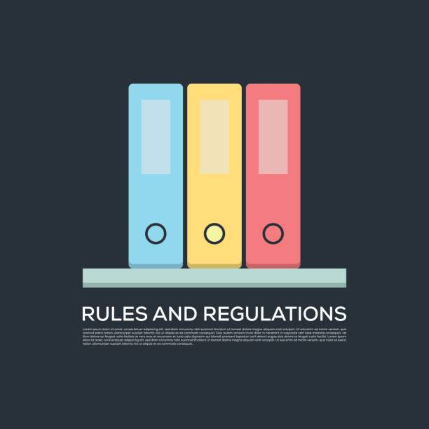 RULES AND REGULATIONS CONCEPT VECTOR ICON RULES AND REGULATIONS CONCEPT VECTOR ICON rules stock illustrations