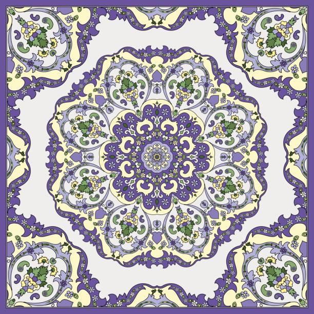 Шаблон вращения 4 Detailed floral pattern for scarf, shawl, carpet or embroidery. Light background. Vector illustration. headscarf stock illustrations