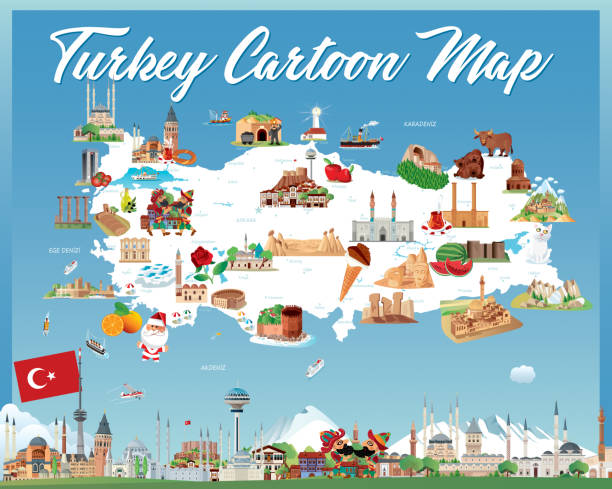 stockillustraties, clipart, cartoons en iconen met cartoon kaart van turkije - erzurum