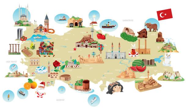 cartoon-karte von türkei - alanya stock-grafiken, -clipart, -cartoons und -symbole