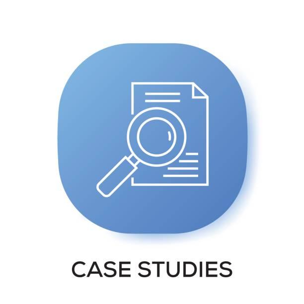 ilustraciones, imágenes clip art, dibujos animados e iconos de stock de icono de la aplicación de estudios de caso - estudiar