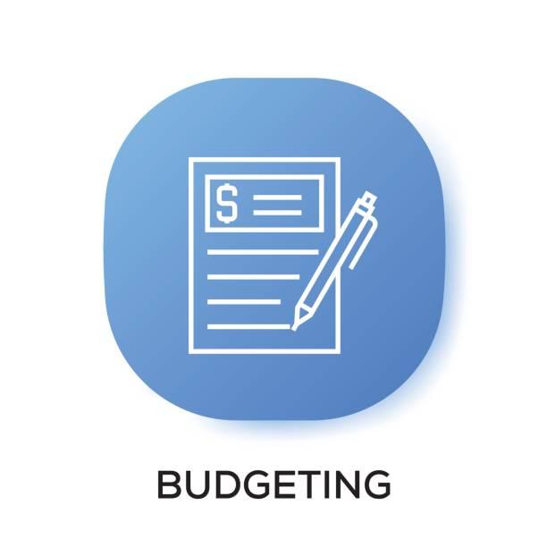 royalty free budget calculator flat line icon clip art vector