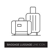 BAGGAGE LUGGAGE LINE ICON