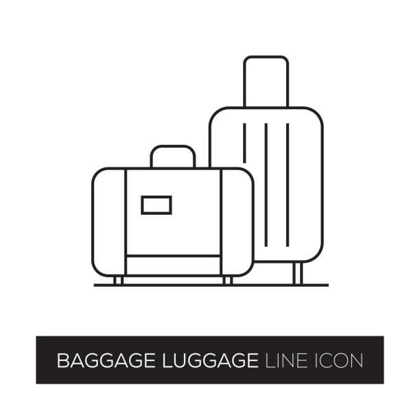 baggage luggage line icon - luggage stock illustrations