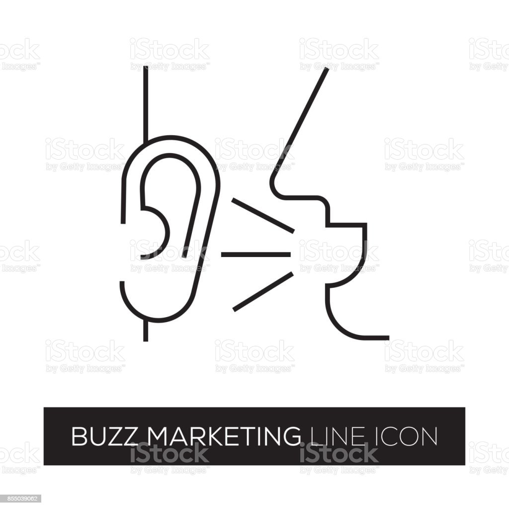 BUZZ MARKETING LINE ICON vector art illustration