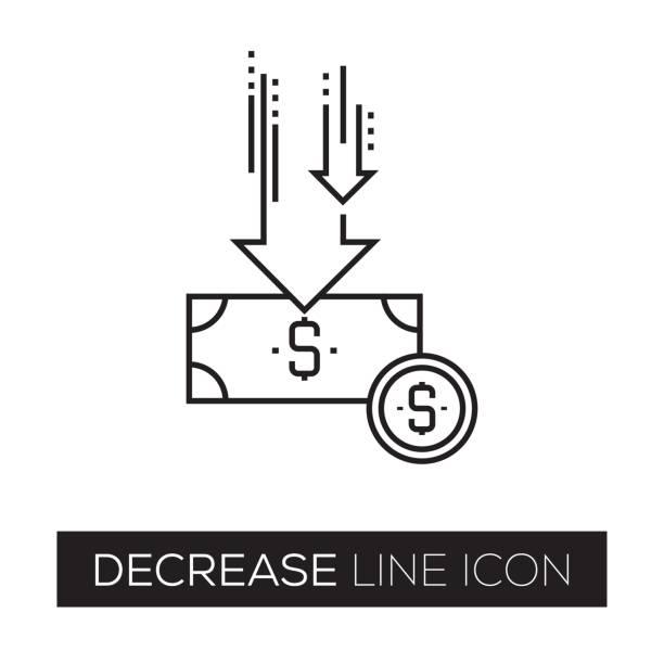 stockillustraties, clipart, cartoons en iconen met daling lijn pictogram - vermindering