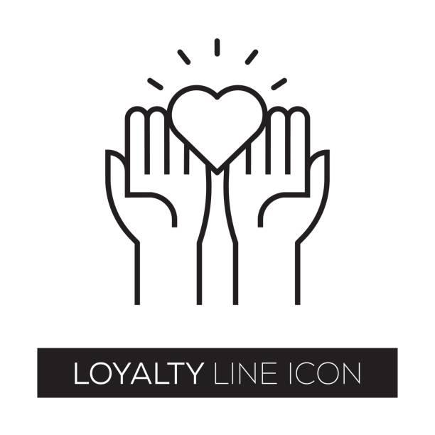 illustrazioni stock, clip art, cartoni animati e icone di tendenza di loyalty line icon - fedeltà