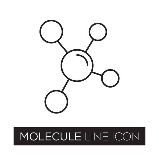 ilustraciones, imágenes clip art, dibujos animados e iconos de stock de icono de línea de la molécula - logotipos de investigación