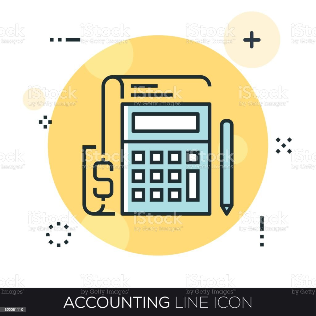 ACCOUNTING LINE ICON vector art illustration