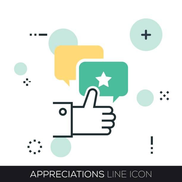 APPRECIATIONS LINE ICON vector art illustration