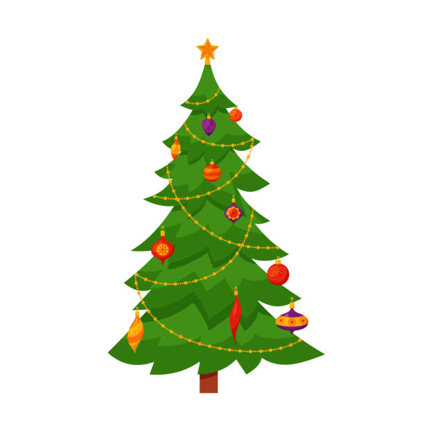 Christmas Tree Illustration.Best Christmas Tree Illustrations Royalty Free Vector