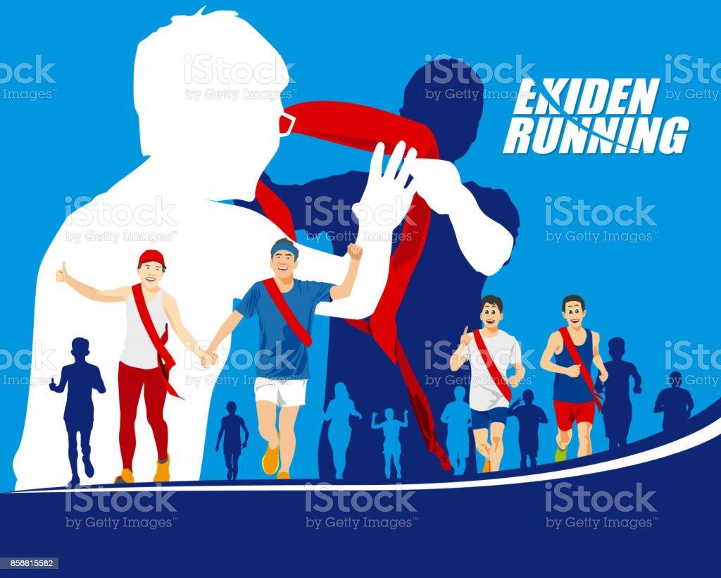 EKIDEN MARATHON WAS BORN IN JAPAN, THE RELAY RUNNERS HAND OVER THEIR SASH TO THE NEXT RUNNER. vector art illustration