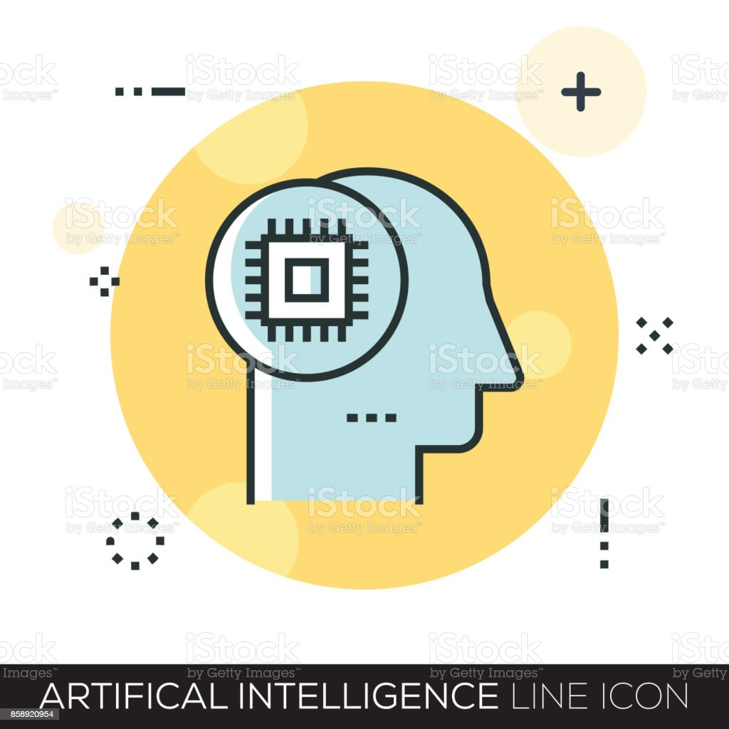 ARTIFICAL INTELLIGENCE LINE ICON vector art illustration