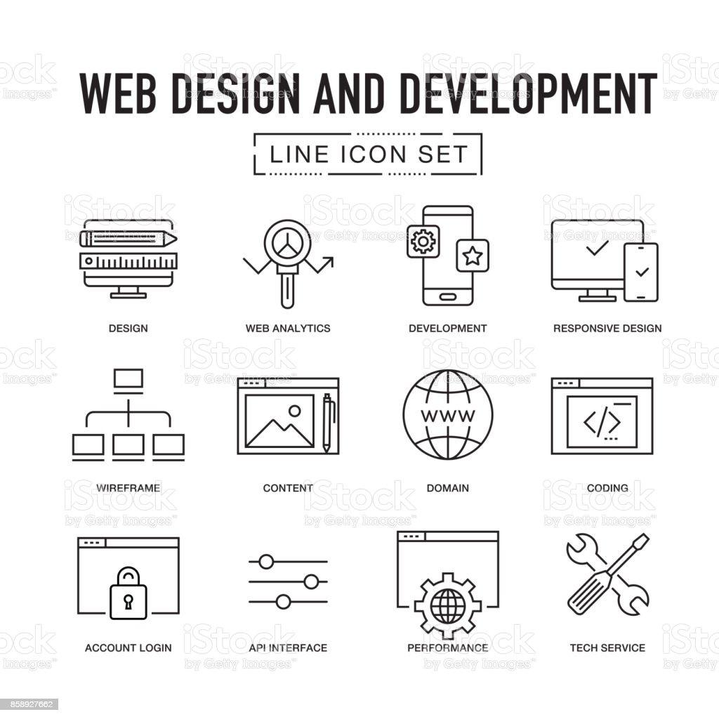 WEB DESIGN AND DEVELOPMENT LINE ICON SET vector art illustration