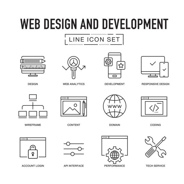 WEB DESIGN AND DEVELOPMENT LINE ICON SET vector art illustration