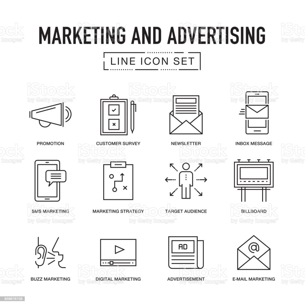 MARKETING AND ADVERTISING LINE ICONS SET vector art illustration