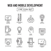 WEB AND MOBILE DEVELOPMENT LINE ICONS SET