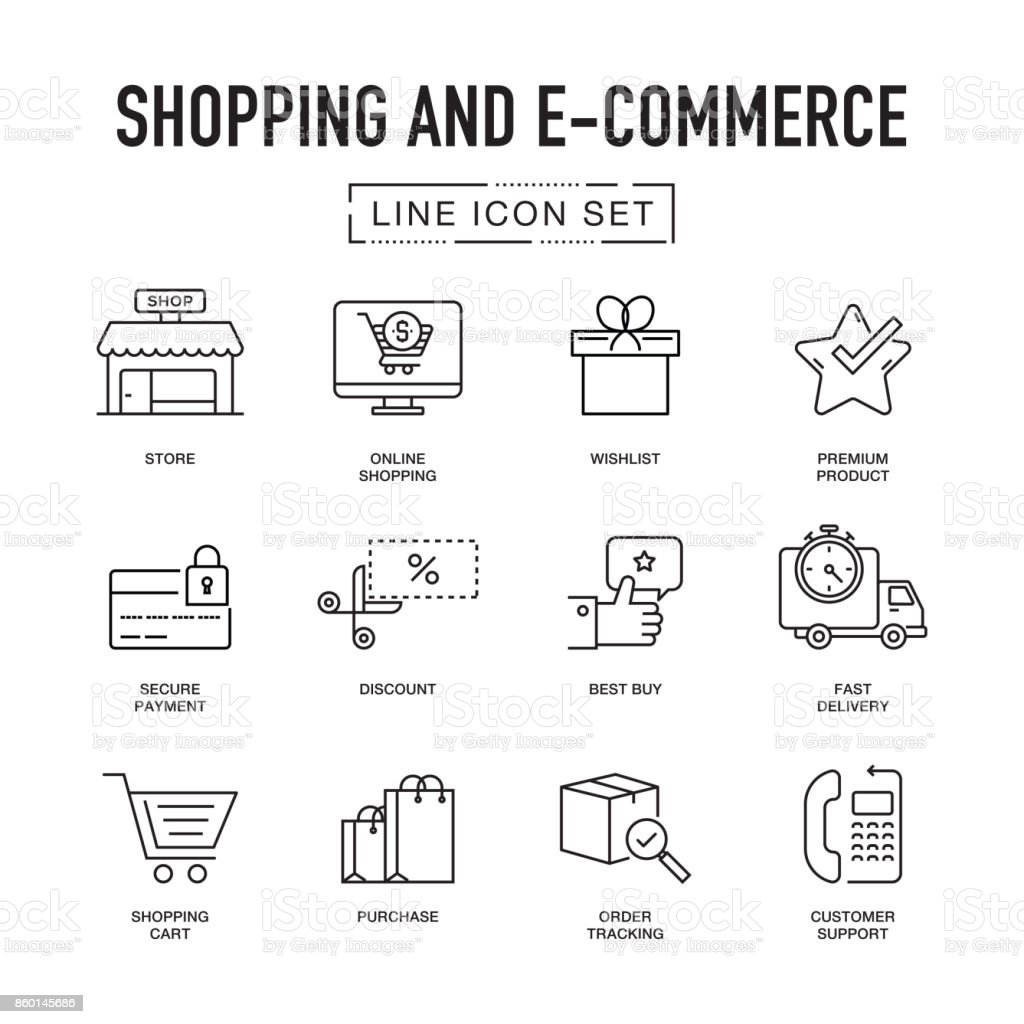 SHOPPING AND E-COMMERCE LINE ICONS SET vector art illustration