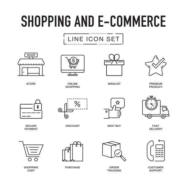 illustrations, cliparts, dessins animés et icônes de boutiques et site e-commerce ligne icons set - commerce électronique